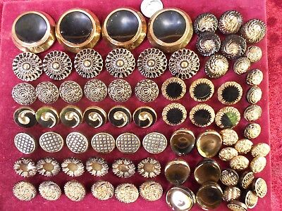 76 Lot Beautiful Old Vintage Glass Buttons Gold