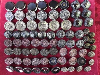 78 Lot Beautiful Old Vintage Glass Buttons Fire