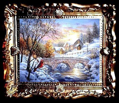 DOLLS HOUSE MINIATURE PICTURE CHRISTMAS SNOW SCENE LIVING DINING ROOM. No158