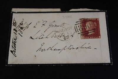 Antique 1862 Windsor To Northamptonshire Penny Red Stamp Envelope (7)