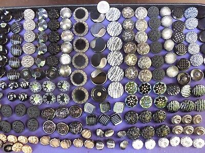 180 Lot Old Czech Vintage Glass Buttons