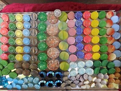 177 Lot Old Czech Vintage Glass Buttons