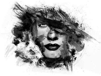 Black &White Abstract Face Painting,High Quality Canvas print choose your size
