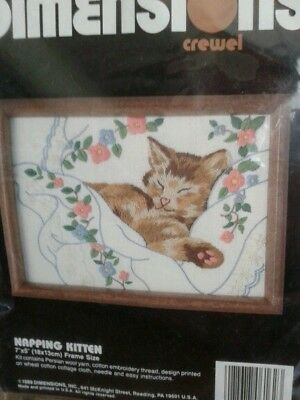 "Dimensions Embroidery Crewel Kit ""napping Kitten""-New"