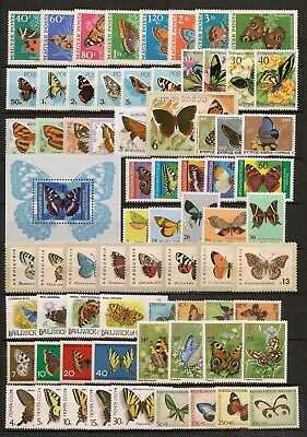 Collection World Insects Butterfly Schmetterlinge Papillons Moths 25 sets MNH