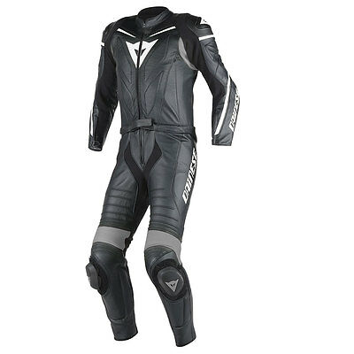 Dainese Laguna Seca D1 Black / Black / Anthracite Long Two Piece Suit All Sizes