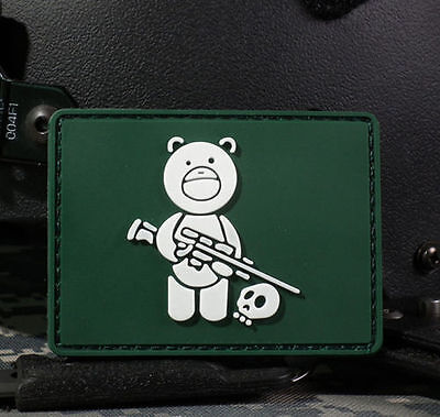 Green Bear Sniper & Hunter Skull 3D Pvc Tactical Army Morale Rubber Patch