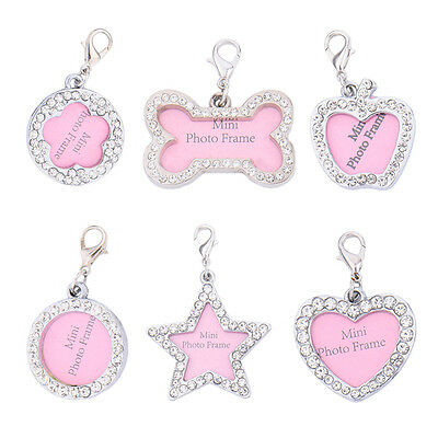 Personalized Name Tags Pet Puppy Cat Dog ID Tag Nameplate Frame Necklace Pendant
