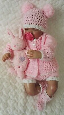 "Hand knitted baby cardigan set 0-3 months / reborn 19""""-22"""
