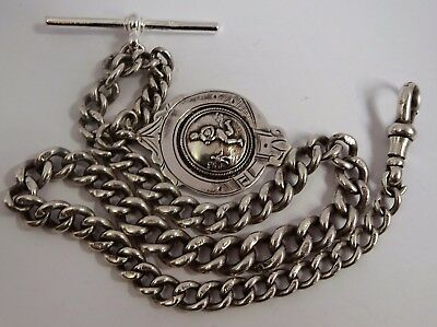 Fabulous Edwardian solid sterling silver pocket watch albert chain and fob. 1902