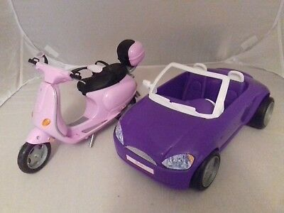 BARBIE Pink Vespa scooter and purple car