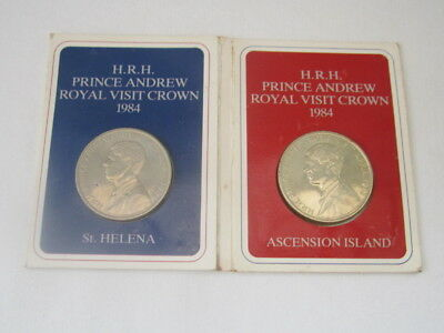TWO BRITISH COMMONWEALTH 1984 CROWN COINS St HELENA & ASCENSION ISLAND.