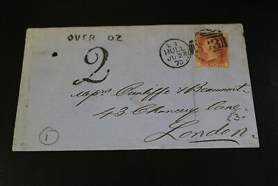 Antique 1870 Hull To London Penny Red Stamp Envelope (13)