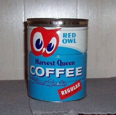 Vintage Key Wind Red Owl Harvest Queen Coffee Can Tin Regular Grind Minnesota Co