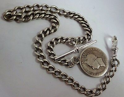 Antique solid sterling silver pocket watch albert chain & Georgian coin fob