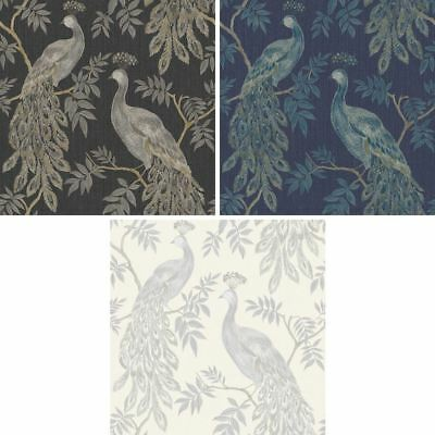 Arthouse Lazzaro Peacock Pattern Wallpaper Bird Leaf Floral Glitter Textured