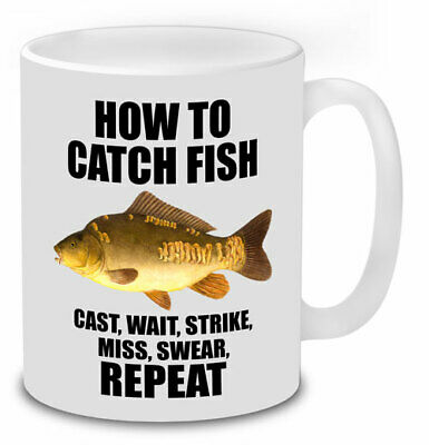 How To Catch Fish Mirror Carp Graphic Funny Mug Fishing Gifts Novelty Mugs.