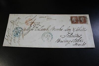 Antique 1859 Basingstoke To Basingstoke 2 X Penny Red Stamp Envelope (21)