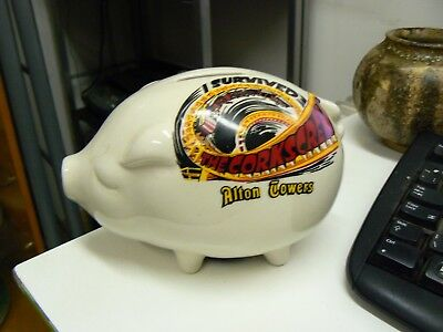 Vintage Money Box Piggy Bank Alton Towers I Survived The Corkscrew