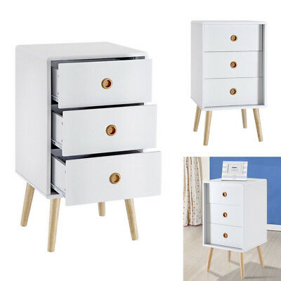 White Bedside Table Cabinet Chest Of 3 Drawers Storage Unit Nightstand Oak Leg
