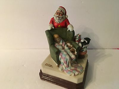 Norman Rockwell Museum Wating For Santa Claus Musical Figurine 1984
