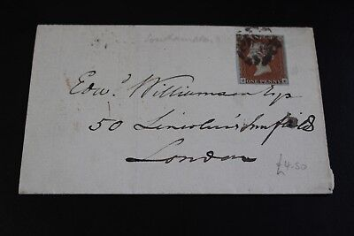 Antique 1842 London Penny Red Stamp Folded Envelope (25)