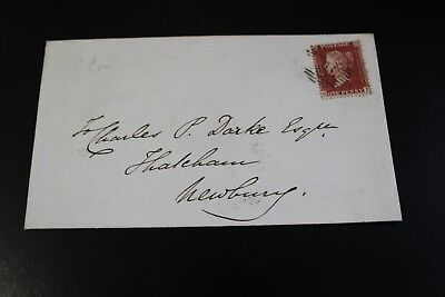 Antique 1858 London To Newbury Penny Red Stamp Envelope (26)