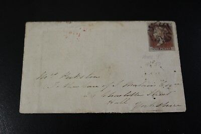 Antique 1841 Hull To Hull Black Plate 9 Penny Red Stamp Envelope And Lett (30)