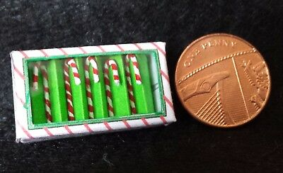 1:12 Miniature Candy Canes Christmas Tree Baubles Ornament Doll House, x5 in box
