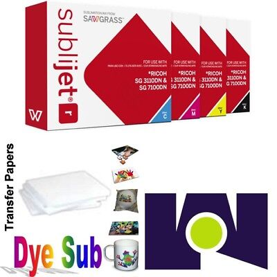 Sawgrass Sublijet Ink Cartridges 3110 (CMYK) Set + 100 Sh Dye Sub Paper