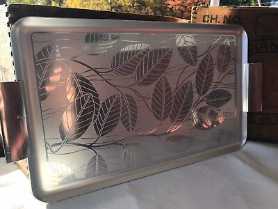 Metal Serving Tray with Leaf Pattern and Handles Vintage