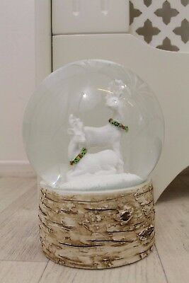 Heaven Sends Christmas Winter Scene White Stag Deer Snow Globe Log 14cm