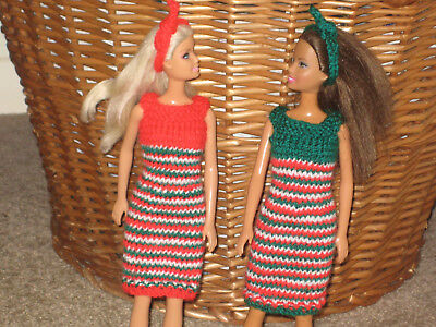 Barbie doll hand knitted clothes  ***CHRISTMAS COLOURS 2-OUTFIT BUNDLE***