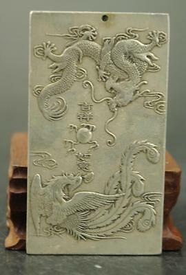 China Old Tibet silver carving dragon and phoenix  statue Amulet periapt Pendant