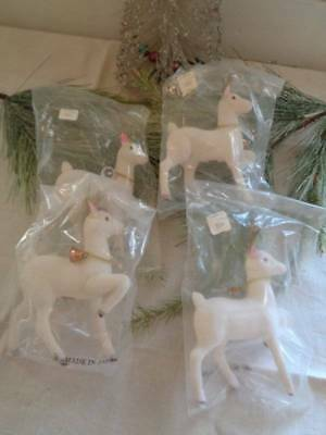 4 Vintage Large White Flocked Christmas  Reindeer With Bells Japan Unused Nip
