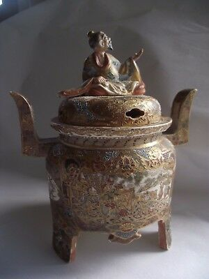 Antique Japanese Satsuma Ceramic  Incense Burner