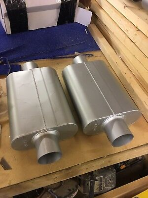 """3"""" Delta Flow Style Mufflers Turbo Pair Of 2 Items"""