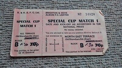 Brighton & Hove Albion Ticket Special Cup Match 1 1980S? Seagulls Bhafc