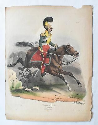 Lithographie originale d' H. Bellangé: Officier du 6.Rgt. de Dragons (vers 1820)