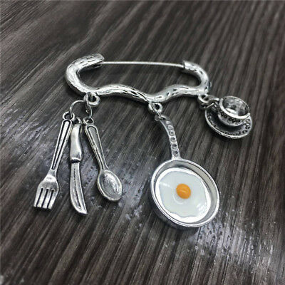 antique silver  Creative gourmet cooking charm brooch gift for mom