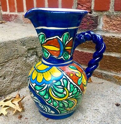 """Vintage Mexican Talavera Amora Hand Painted Pottery Pitcher Braided Handle 10"""""""
