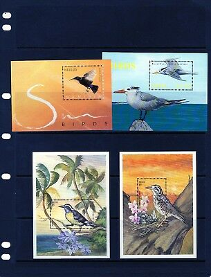 NEVIS the 4 Birds Mini Sheets Mtd. MINT