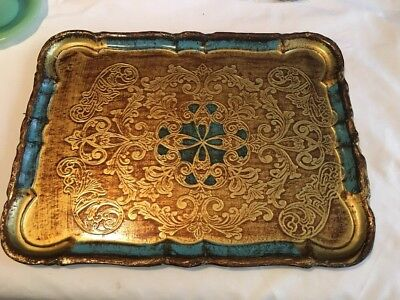 Vtg Florentine Firenze Italy Gilded RECT. Ornate Tray  16in. W/BLUE-LOOK