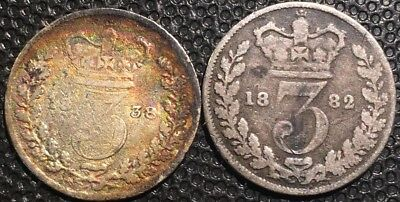 1838.1882 UK Great Britain 3 Pence ( lot Of2Silver Coins