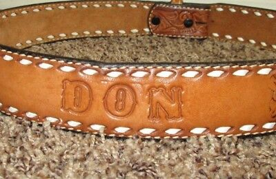 """Leather Tooled """"don"""" Belt Sz. 38 Cowboy Western  Cowhide Custom Personalized"""