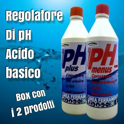 REGOLATORE DI pH PER PISCINE COMBO ACIDO | BASICO / pH - | pH + (750 ml X2)