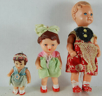 Three Vintage Dolls House Dolls (Rubber?)