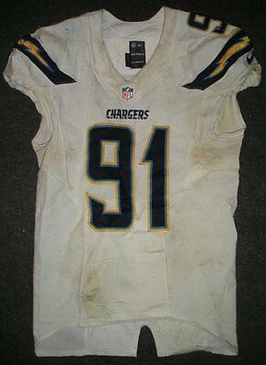2013 Kendall Reyes San Diego Chargers White Game Worn Nike Football Jersey