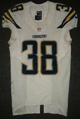 2013 Marcus Gilchrist San Diego Chargers White Game Worn Nike Football Jersey