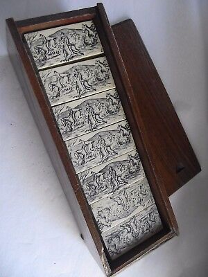 Vintage Dominoes Set - Backs Decorated with Hunting Scene